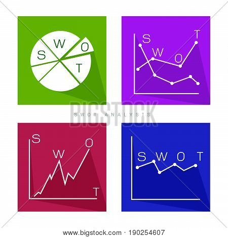 Business Graph and Chart Set of SWOT Analysis Matrix A Structured Planning Method for Evaluate Strengths, Weaknesses, Opportunities and Threats Involved in Business Project. A Foundation Strategy Management Plan.