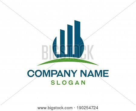 Financia logo with green and blue color on white background