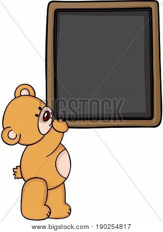 Scalable vectorial image representing a teddy bear with blackboard, isolated on white.