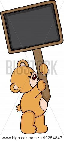 Scalable vectorial image representing a teddy bear with blank wood sign, isolated on white.