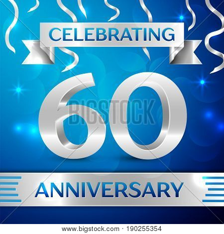 Sixty Years Anniversary Celebration Design. Confetti and silver ribbon on blue background. Colorful Vector template elements for your birthday party. Anniversary ribbon