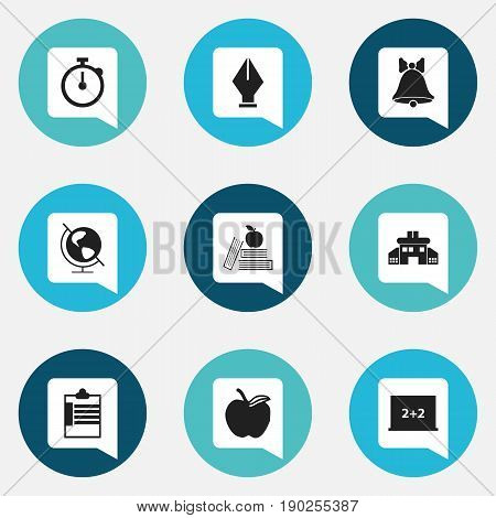 Set Of 9 Editable Education Icons. Includes Symbols Such As Supervision List, Jingle, Nib And More. Can Be Used For Web, Mobile, UI And Infographic Design.