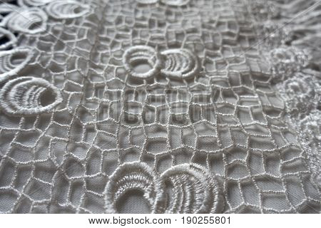 White Netlike Retro Styled Openworked Lace Fabric
