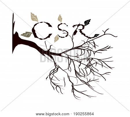 Business Concepts, CSR Abbreviation or Corporate Social Responsibility Decorated with Brown Dried Plant.