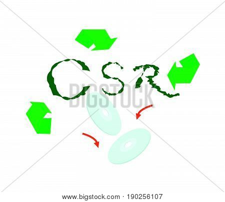 Business Concepts, Ecology Icon with CSR Abbreviation or Corporate Social Responsibility Achieve Notes.