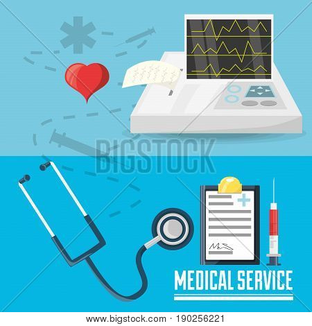 stethoscope with medical prescription and cardiac machine with syringe vector illustration