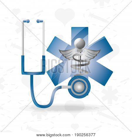 stethoscope with medical symbol to save lifes vector illustration