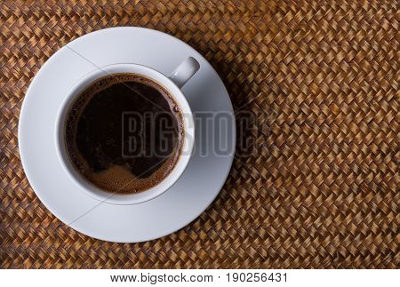Cup Of Coffee On A Rattan Tray