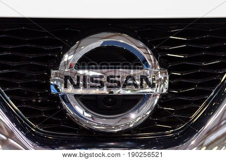 Krakow Poland May 21 2017: Nissan sign close-up during MotoShow in Krakow. Nissan is a famous Japanese multinational automaker.