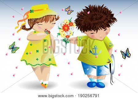 A boy in a T-shirt with an anchor gives a bouquet to a girl in a yellow dress and hat around me butterflies and flower petals fly romance love a date