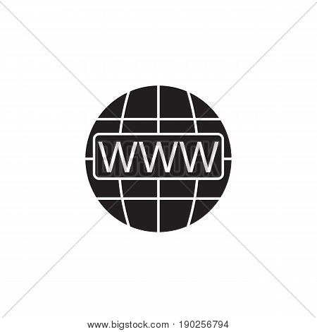 Www and globe internet solid icon, Website browser, vector graphics, a filled pattern on a white background, eps 10.