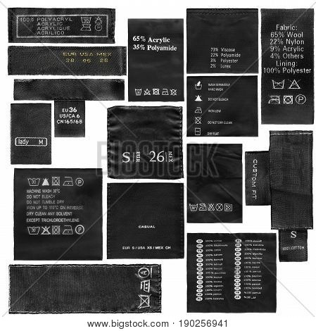 Set of fabric composition and washing instructions black labels on white background