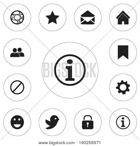 Set Of 12 Editable Network Icons. Includes Symbols Such As Bookmark, Network, Settings And More. Can Be Used For Web, Mobile, UI And Infographic Design.