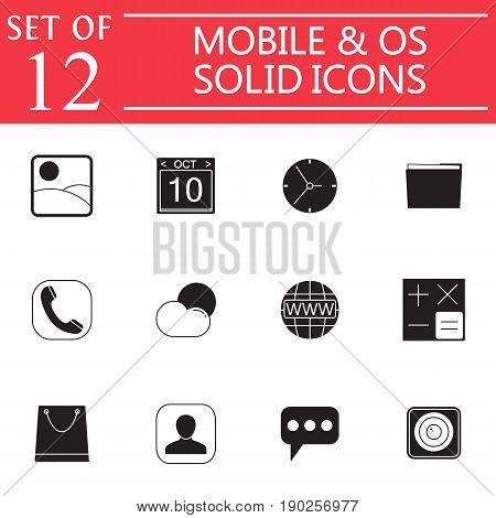 Mobile and OS solid icon set, symbols collection, vector sketches, system interface and applications logo illustrations, glyph signs isolated on white background, eps 10.
