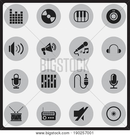 Set Of 16 Editable Music Icons. Includes Symbols Such As Broadcasting, Media Interview, Compact Disk And More. Can Be Used For Web, Mobile, UI And Infographic Design.