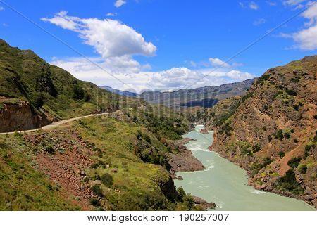 Deep blue Baker river, Carretera Austral, Route 7 Chile