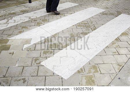 Crossing pedestrian zebra crossing street sign detail