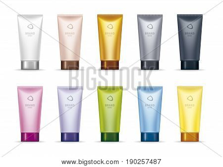 Set of ten realistic tubes of different colors. Packaging for cosmetic cream, scrub, peeling gel. Vector illustration.