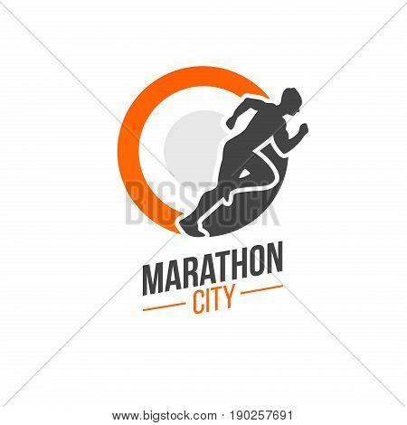 Running man silhouette, marathon logo template, running club or sports club on white background