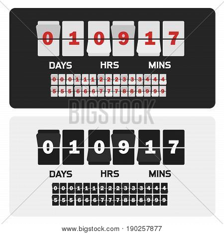 Event presentation sale timer. Number counter template banner, all digits with flips included. Countdown clock digits board. Vector illustration