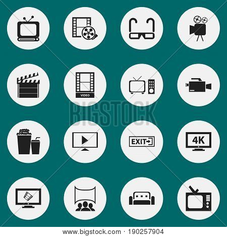 Set Of 16 Editable Cinema Icons. Includes Symbols Such As Tripod, Broadcast, Clapper And More. Can Be Used For Web, Mobile, UI And Infographic Design.