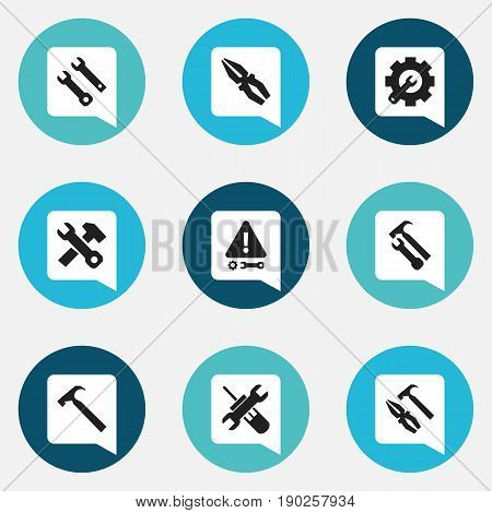 Set Of 9 Editable Service Icons. Includes Symbols Such As Wrench Hammer, Fix Tool, Utility And More. Can Be Used For Web, Mobile, UI And Infographic Design.