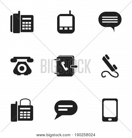 Set Of 9 Editable Phone Icons. Includes Symbols Such As Transceiver, Smartphone, Address Notebook And More. Can Be Used For Web, Mobile, UI And Infographic Design.