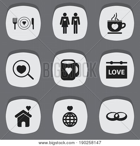 Set Of 9 Editable Passion Icons. Includes Symbols Such As Wedding, Loupe, Dishes And More. Can Be Used For Web, Mobile, UI And Infographic Design.