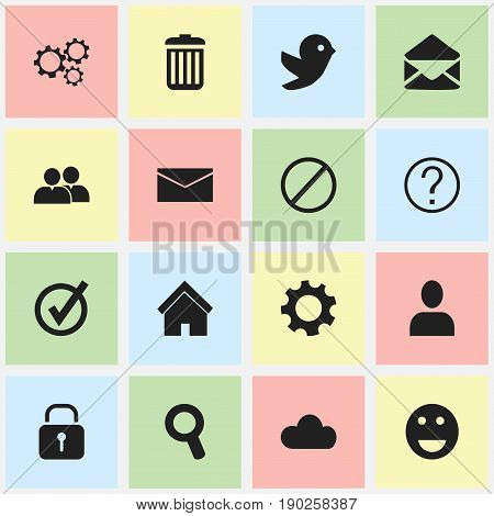 Set Of 16 Editable Internet Icons. Includes Symbols Such As Profile, Deny, Recycle Bin And More. Can Be Used For Web, Mobile, UI And Infographic Design.