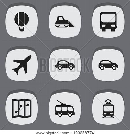Set Of 9 Editable Transport Icons. Includes Symbols Such As Tramcar, Autobus, Hatchback And More. Can Be Used For Web, Mobile, UI And Infographic Design.