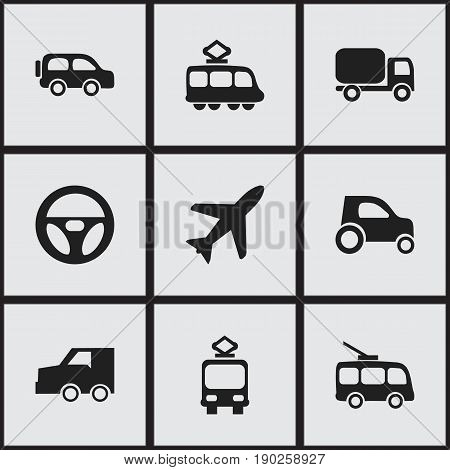 Set Of 9 Editable Shipment Icons. Includes Symbols Such As Streetcar, Drive Control, Service Car And More. Can Be Used For Web, Mobile, UI And Infographic Design.