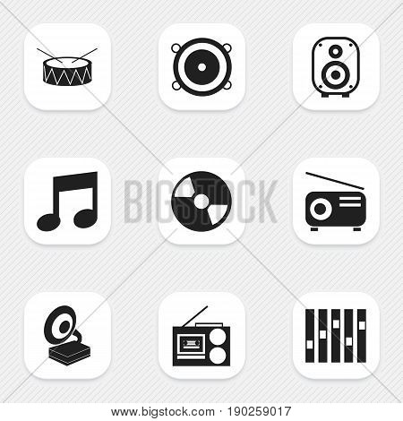 Set Of 9 Editable Sound Icons. Includes Symbols Such As Speaker, Equalizer, Bass Speakers And More. Can Be Used For Web, Mobile, UI And Infographic Design.