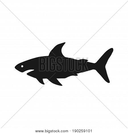 Vector illustration of shark based on hand-drawn sketch. Black silhouette isolated on white background. Organic marine carnivore silhouette. Perfect for t-shirt design, posters, banner, web-design etc.