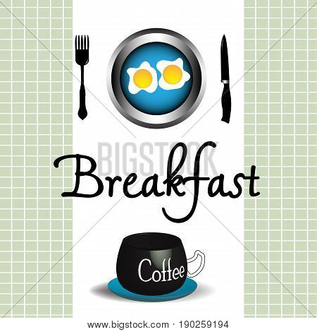 Colorful background with coffee and eggs. Breakfast theme