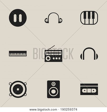 Set Of 9 Editable Audio Icons. Includes Symbols Such As Tape, Retro Tuner, Pianoforte And More. Can Be Used For Web, Mobile, UI And Infographic Design.