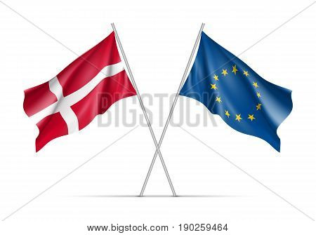 Denmark and European Union waving flags on flagpole. EU sign with twelve gold stars on blue and Denmark national symbol. Two flags isolated on white background