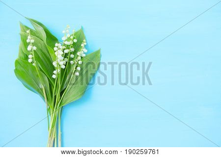 Spring White Lilies Of The Valley On A Blue Wooden Background