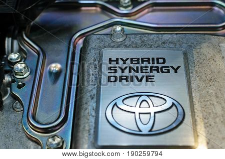 Krakow Poland May 21 2017: Toyota Hybrid Synergy Drive sign close-up during MotoShow in Krakow. Toyota is a famous Japanese multinational automaker.