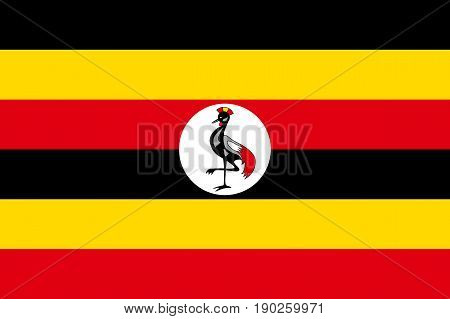 Flag of Uganda. Symbol african state in proportion correctly and Ugandan official colors. Patriotic sign East Africa country. Vector icon illustration
