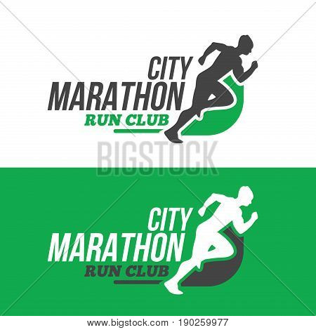 Running man silhouette, marathon logo template, running club or sports club on white background