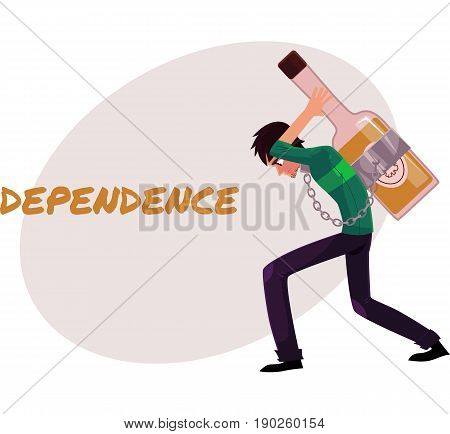 Financial dependence poster, banner template with man chained to huge bottle of liquor, carrying it on his back, alcohol dependence concept, cartoon vector illustrations isolated on white background.