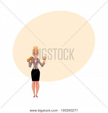 Young blond businesswoman eating sandwich, holding coffee cup, lunch break concept, cartoon vector illustration with space for text. Businesswoman, business woman eating lunch on the go