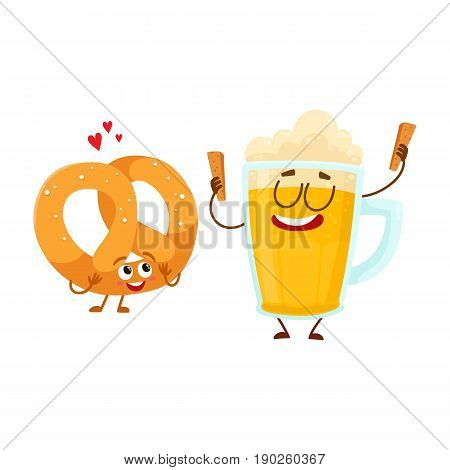 Happy aluminium beer mug and salty pretzel characters having fun together, cartoon vector illustration isolated on white background. Funny smiling beer mug and pretzel characters, good company