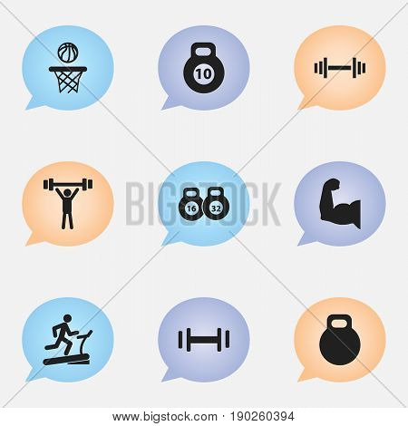 Set Of 9 Editable Healthy Icons. Includes Symbols Such As Weightlifting, Heft, Bodybuilding And More. Can Be Used For Web, Mobile, UI And Infographic Design.