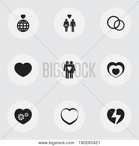 Set Of 9 Editable Heart Icons. Includes Symbols Such As Soul, Romantic, Family And More. Can Be Used For Web, Mobile, UI And Infographic Design.