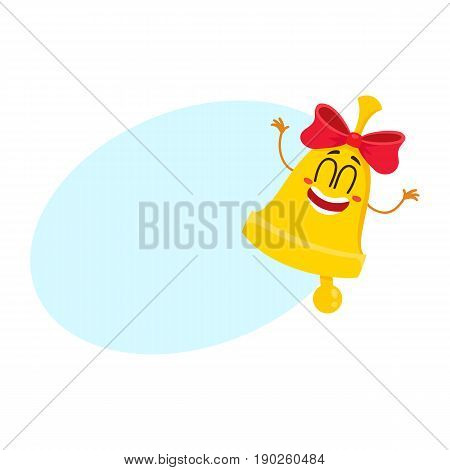 Cute and funny golden school bell character with red ribbon and smiling human face, cartoon vector illustration with space for text. Smiling golden bell with red ribbon character, mascot