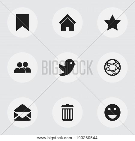 Set Of 9 Editable Web Icons. Includes Symbols Such As Tag, Home, Emoji And More. Can Be Used For Web, Mobile, UI And Infographic Design.