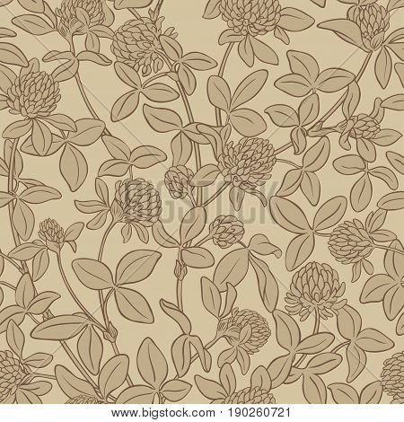 clover flowers vector pattern on color background