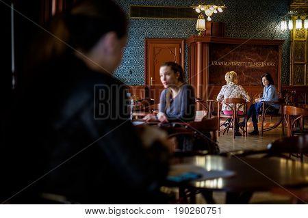Budapest, Hungary - Avril 17, 2016: Bar Urania, Rakoczi Street