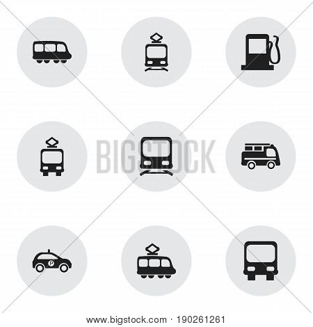 Set Of 9 Editable Shipment Icons. Includes Symbols Such As Tramcar, Wagon, Autobus And More. Can Be Used For Web, Mobile, UI And Infographic Design.